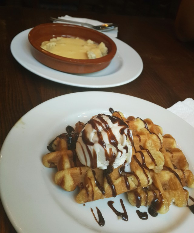 Waffle with Ice Cream and Cake and Custard Crumble