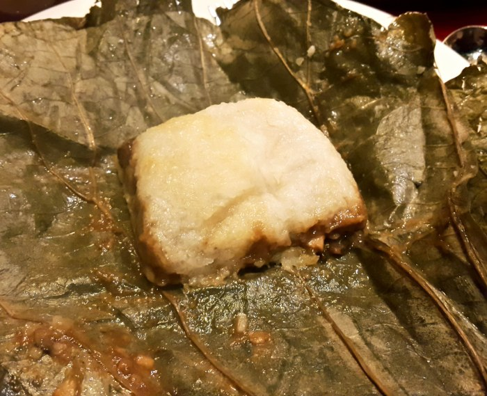Sticky Rice with Prawn and Chicken in Lotus Leaf